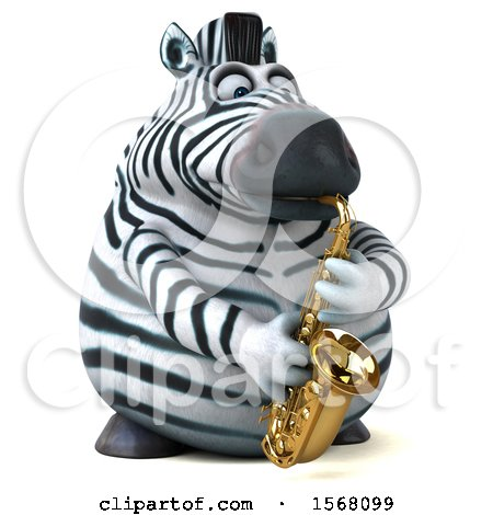 Clipart of a 3d Zebra Playing a Saxophone, on a White Background - Royalty Free Illustration by Julos