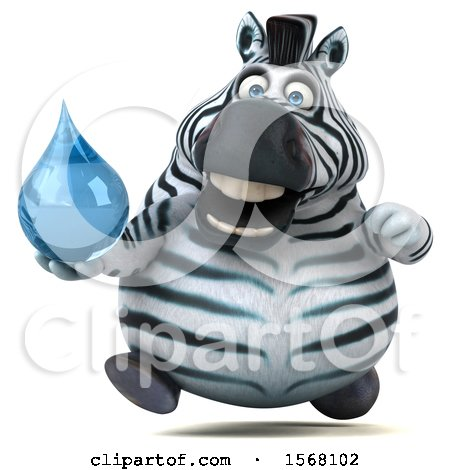 Clipart of a 3d Zebra Holding a Water Drop, on a White Background - Royalty Free Illustration by Julos