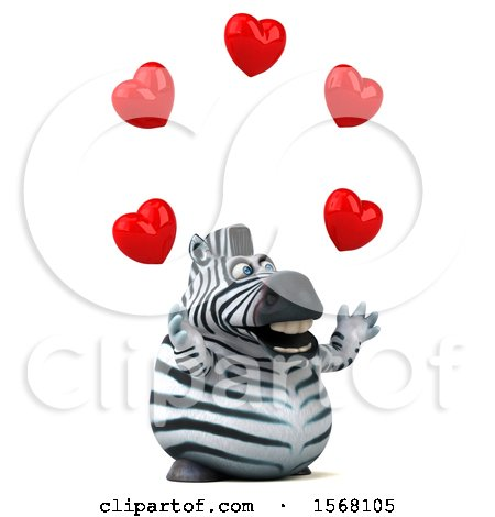 Clipart of a 3d Zebra Holding Hearts, on a White Background - Royalty Free Illustration by Julos