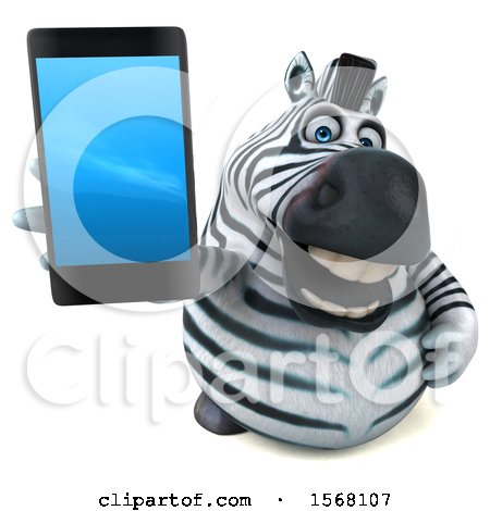 Clipart of a 3d Zebra Holding a Cell Phone, on a White Background - Royalty Free Illustration by Julos