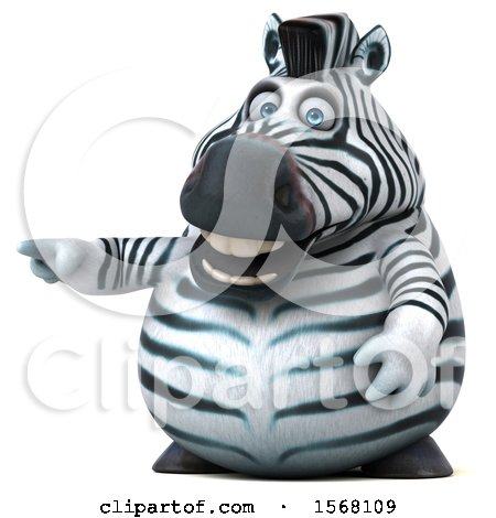 Clipart of a 3d Zebra Pointing, on a White Background - Royalty Free Illustration by Julos