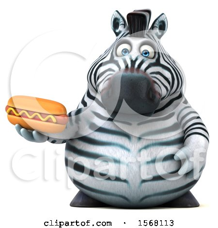 Clipart of a 3d Zebra Holding a Hot Dog, on a White Background - Royalty Free Illustration by Julos