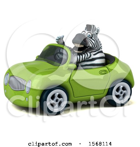 Clipart of a 3d Zebra Driving a Convertible, on a White Background - Royalty Free Illustration by Julos