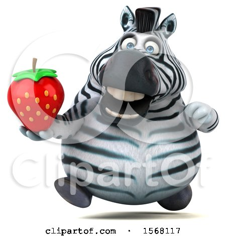 Clipart of a 3d Zebra Holding a Strawberry, on a White Background - Royalty Free Illustration by Julos