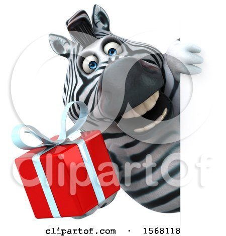 Clipart of a 3d Zebra Holding a Gift, on a White Background - Royalty Free Illustration by Julos