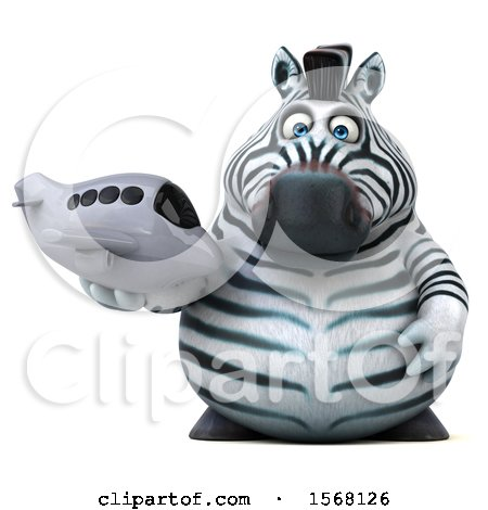 Clipart of a 3d Zebra Holding a Plane, on a White Background - Royalty Free Illustration by Julos