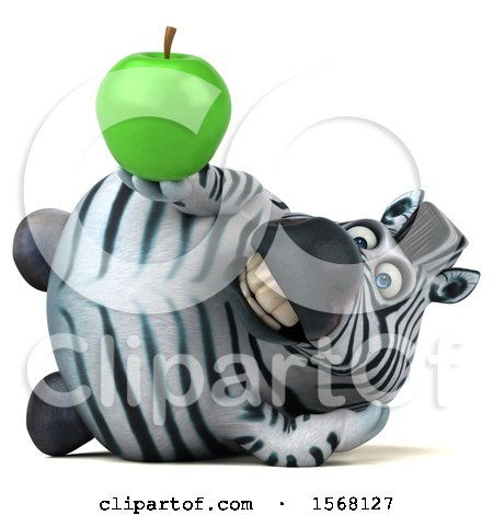 Clipart of a 3d Zebra Holding an Apple, on a White Background - Royalty Free Illustration by Julos