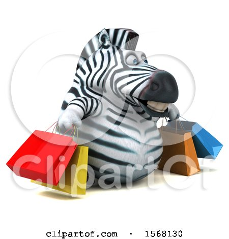 Clipart of a 3d Zebra Carrying Shopping Bags, on a White Background - Royalty Free Illustration by Julos