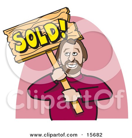 Happy Man In A Red Sweater, Holding A Wooden Sold Sign After Selling A House Clipart Illustration by Andy Nortnik