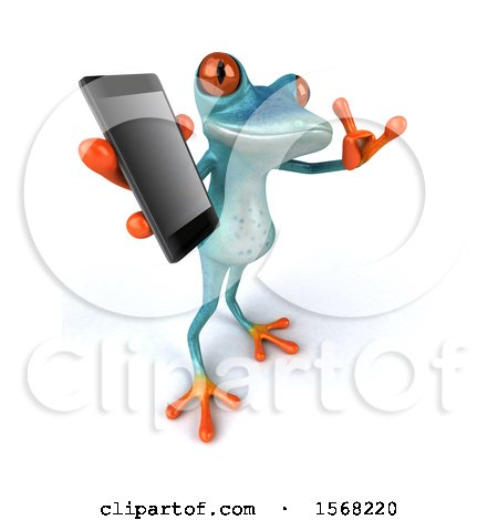 Clipart of a 3d Blue Frog Holding a Cell Phone, on a White Background - Royalty Free Illustration by Julos