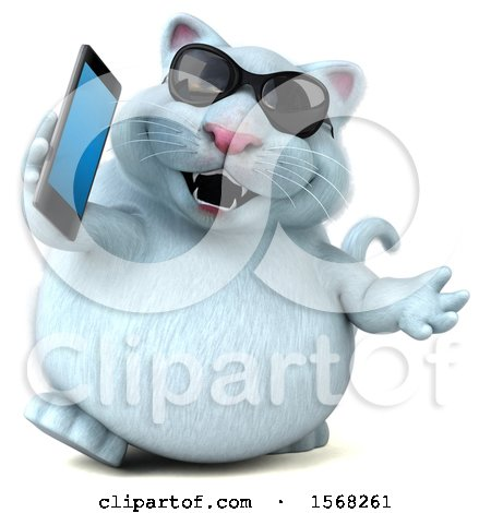 Clipart of a 3d White Kitty Cat Holding a Cell Phone, on a White Background - Royalty Free Illustration by Julos