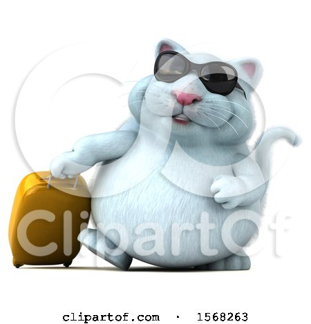 Clipart of a 3d White Kitty Cat Traveler, on a White Background - Royalty Free Illustration by Julos
