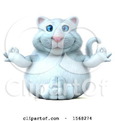 Clipart of a 3d White Kitty Cat Meditating, on a White Background - Royalty Free Illustration by Julos