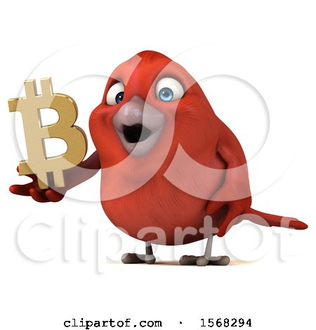 Clipart of a 3d Red Bird Holding a Bitcoin Symbol, on a White Background - Royalty Free Illustration by Julos