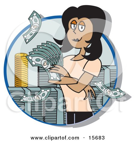 Successful Female Realtor Standing In A Giant Stack Of Cash And Coins Clipart Illustration by Andy Nortnik