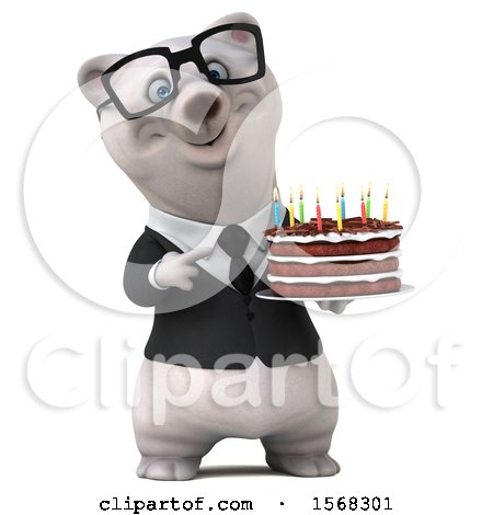 Clipart of a 3d Business Polar Bear Holding a Birthday Cake, on a White Background - Royalty Free Illustration by Julos