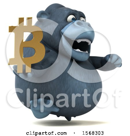Clipart of a 3d Gorilla Mascot Holding a Bitcoin Symbol, on a White Background - Royalty Free Illustration by Julos
