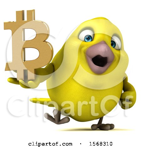 Clipart of a 3d Yellow Bird Holding a Bitcoin Symbol, on a White Background - Royalty Free Illustration by Julos