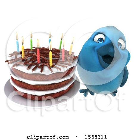 Clipart of a 3d Blue Bird Holding a Birthday Cake, on a White Background - Royalty Free Illustration by Julos