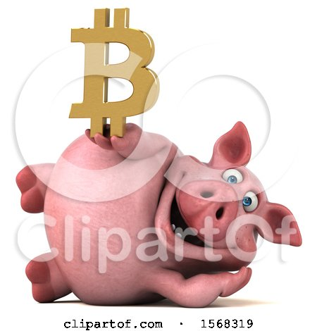 Clipart of a 3d Chubby Pig Holding a Bitcoin Symbol, on a White Background - Royalty Free Illustration by Julos
