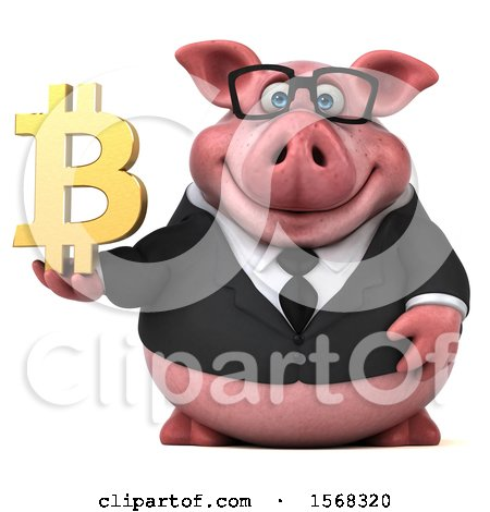 Clipart of a 3d Chubby Business Pig Holding a Bitcoin Symbol, on a White Background - Royalty Free Illustration by Julos