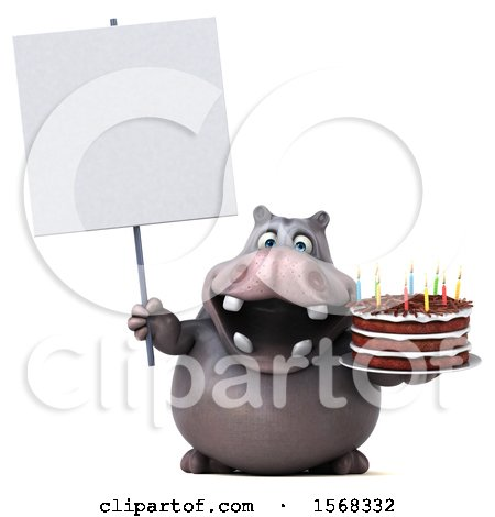 Clipart of a 3d Hippo Holding a Birthday Cake, on a White Background - Royalty Free Illustration by Julos