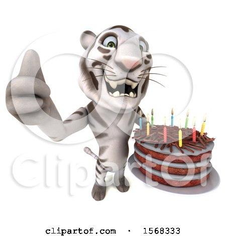Clipart of a 3d White Tiger Holding a Birthday Cake, on a White Background - Royalty Free Illustration by Julos