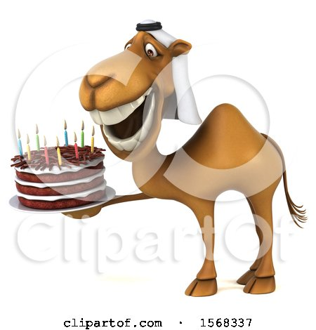 Clipart of a 3d Arabian Camel Holding a Birthday Cake, on a White Background - Royalty Free Illustration by Julos