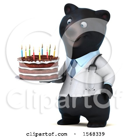 Clipart of a 3d Black Doctor Bear Holding a Birthday Cake, on a White Background - Royalty Free Illustration by Julos