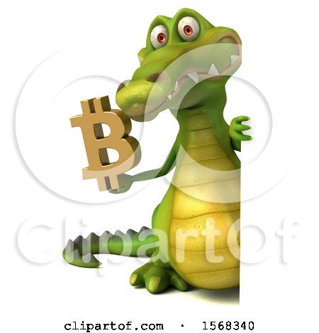 Clipart of a 3d Crocodile Holding a Bitcoin Symbol, on a White Background - Royalty Free Illustration by Julos