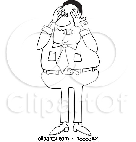 Clipart of a Cartoon Lineart Aggravated Black Business Man Squeezing His Face - Royalty Free Vector Illustration by djart