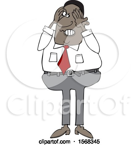 Clipart of a Cartoon Aggravated Black Business Man Squeezing His Face - Royalty Free Vector Illustration by djart