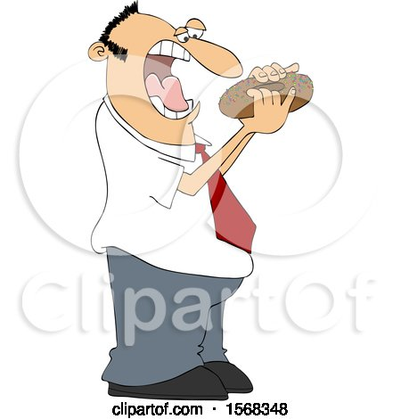Clipart of a Cartoon Man About to Shove a Donut in His Mouth - Royalty Free Vector Illustration by djart