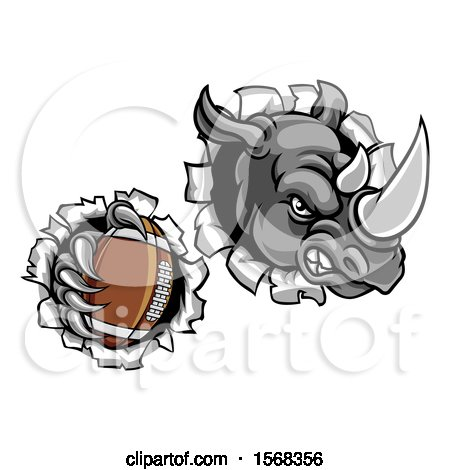 Clipart of a Tough Rhino Monster Mascot Holding a Football in One Clawed Paw and Breaking Through a Wall - Royalty Free Vector Illustration by AtStockIllustration