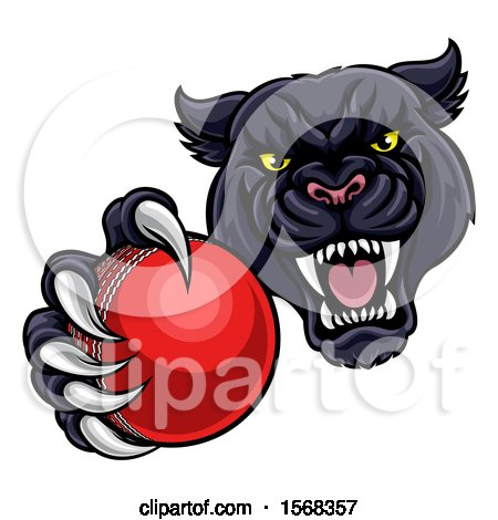 Clipart of a Tough Black Panther Monster Mascot Holding out a Cricket Ball in One Clawed Paw - Royalty Free Vector Illustration by AtStockIllustration