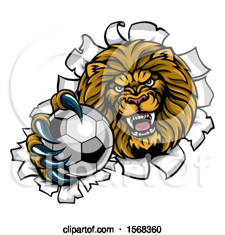 Clipart of a Tough Lion Sports Mascot Holding out a Soccer Ball and Breaking Through a Wall - Royalty Free Vector Illustration by AtStockIllustration