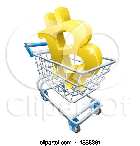 Clipart of a 3d Gold Bitcoin Currency Symbol in a Shopping Cart - Royalty Free Vector Illustration by AtStockIllustration