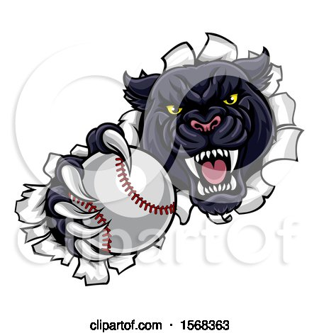 Clipart of a Black Panther Mascot Breaking Through a Wall with a Baseball - Royalty Free Vector Illustration by AtStockIllustration