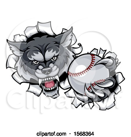 Clipart of a Tough Wolf Monster Mascot Holding out a Baseball in One Clawed Paw and Breaking Through a Wall - Royalty Free Vector Illustration by AtStockIllustration
