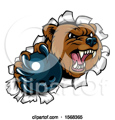 Clipart of a Bear Sports Mascot Breaking Through a Wall with a Bowling Ball in a Paw - Royalty Free Vector Illustration by AtStockIllustration