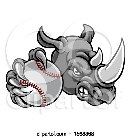 Clipart of a Tough Rhino Monster Mascot Holding out a Baseball in One Clawed Paw - Royalty Free Vector Illustration by AtStockIllustration