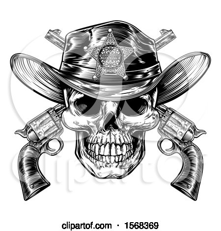 Clipart of a Cowboy Sheriff Skull over Crossed Guns in Black and White - Royalty Free Vector Illustration by AtStockIllustration