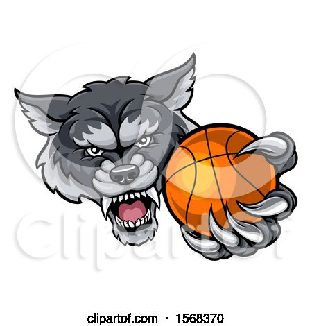 Clipart of a Tough Wolf Monster Mascot Holding out a Basketball in One Clawed Paw - Royalty Free Vector Illustration by AtStockIllustration