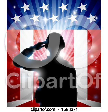Clipart of a Silhouetted Full Length Male Military Veteran Saluting over an American Themed Flag and Bursts - Royalty Free Vector Illustration by AtStockIllustration