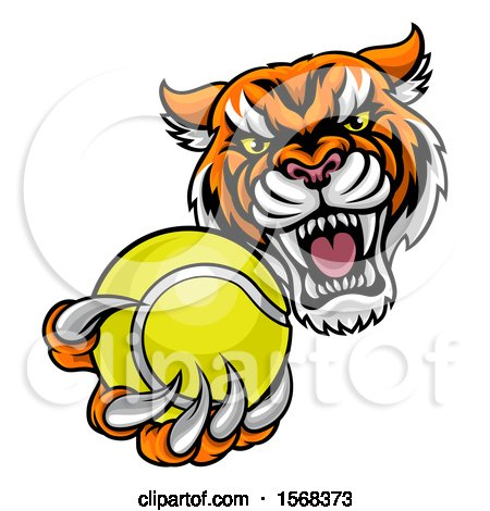 Clipart of a Vicious Tiger Sports Mascot Grabbing a Tennis Ball - Royalty Free Vector Illustration by AtStockIllustration