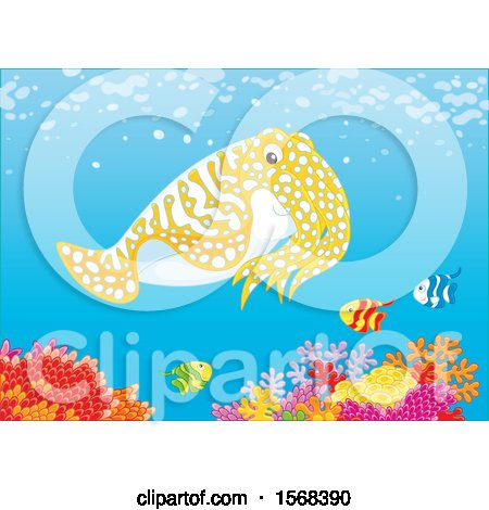 Clipart of a Cute Cuttlefish over a Reef - Royalty Free Vector Illustration by Alex Bannykh