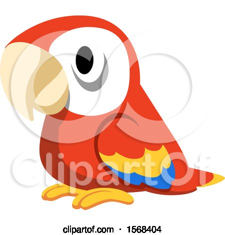 Clipart of a Cute Scarlet Macaw Parrot - Royalty Free Vector Illustration by yayayoyo