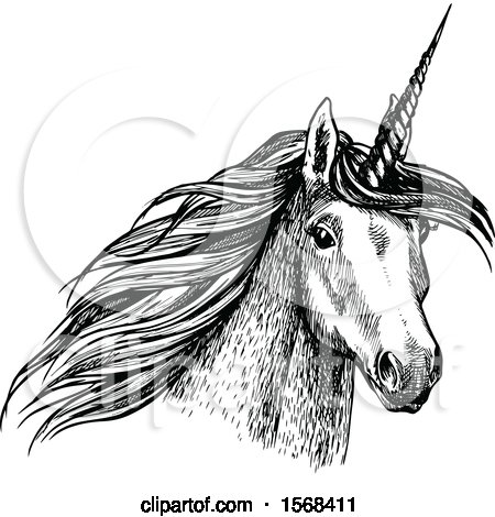 Clipart of a Sketched Unicorn - Royalty Free Vector Illustration by Vector Tradition SM