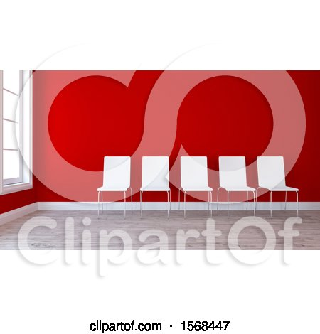 Clipart of a 3d Red Room Interior with Chairs - Royalty Free Illustration by KJ Pargeter