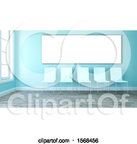 Clipart of a 3d Blue Room Interior with Chairs - Royalty Free Illustration by KJ Pargeter